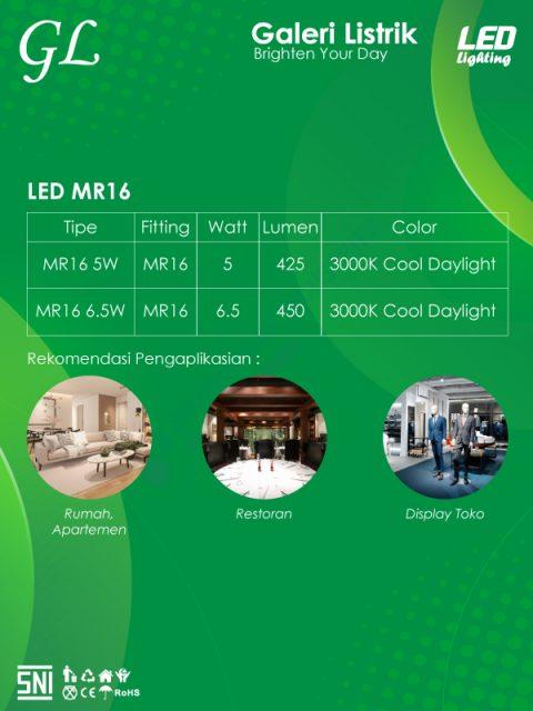 Lampu GL LED MR 16